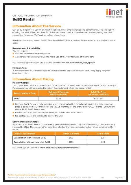 Download the BoB2™ Rental Critical Information Summary - iiNet