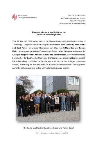 Masterstudierende aus Dublin an der Hochschule Ludwigshafen ...