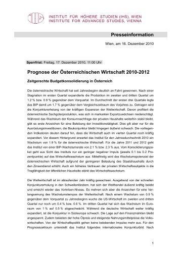 17-12-2010 Prognose - Institute for Advanced Studies