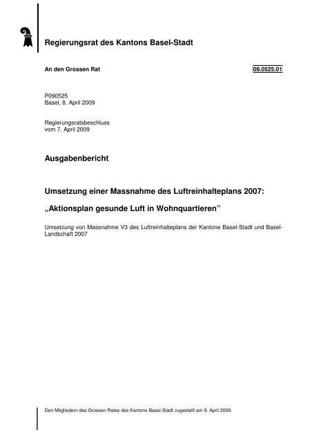 09.0525.01 - Grosser Rat - Basel-Stadt