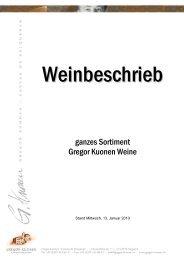 ganzes Sortiment Gregor Kuonen Weine - Gregor Kuonen - Caveau ...