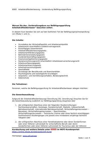 6060 Arbeitskräfteüberlassung - Vorbereitung Befähigungsprüfung ...
