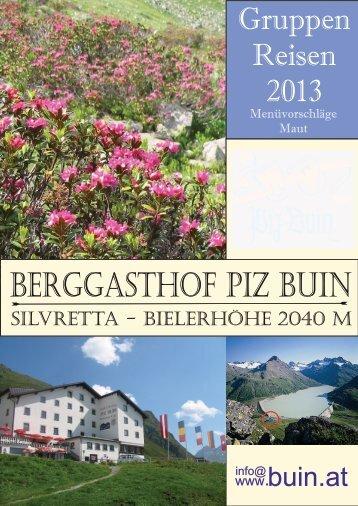Menüvorschläge 2013 für Gruppen - Berggasthof piz buin