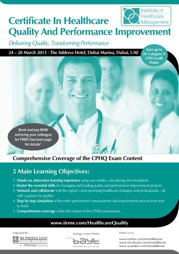 Certificate In Healthcare Quality And Performance ... - IIR Middle East