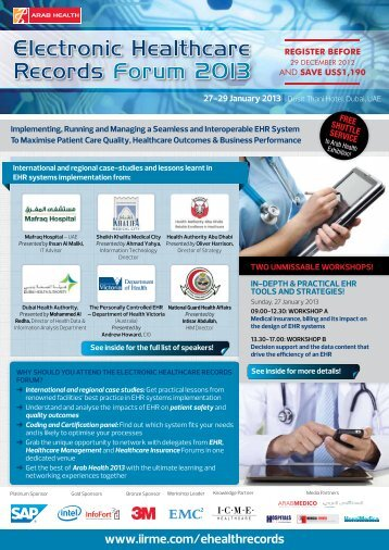 Electronic Healthcare Records Forum 2013 - IIR Middle East