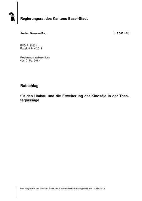 13.0631.01, Ratschlag des RR - Grosser Rat - Kanton Basel-Stadt