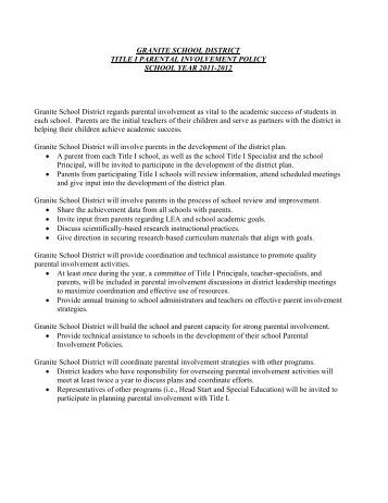 GRANITE SCHOOL DISTRICT TITLE I PARENTAL INVOLVEMENT ...