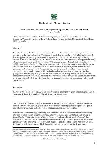 The Ismailis in History - The Institute of Ismaili Studies