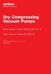 Dry Compressing Vacuum Pumps - Granzow