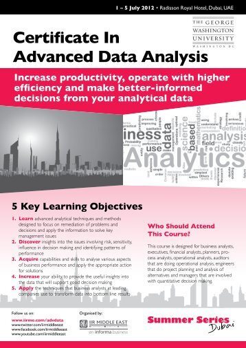 Certificate In Advanced Data Analysis - IIR Middle East