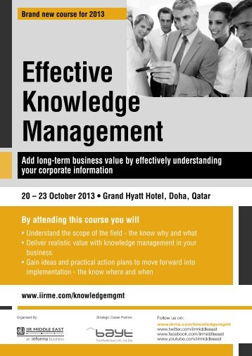 Effective Knowledge Management - IIR Middle East