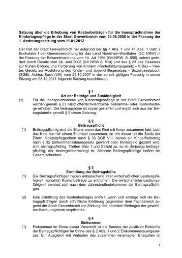 1 Satzung über die Erhebung von Kostenbeiträgen für die ...