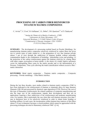 processing of carbon fiber reinforced titanium matrix ... - ICCM