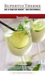Getränkekarte SaunaBar - Rupertustherme