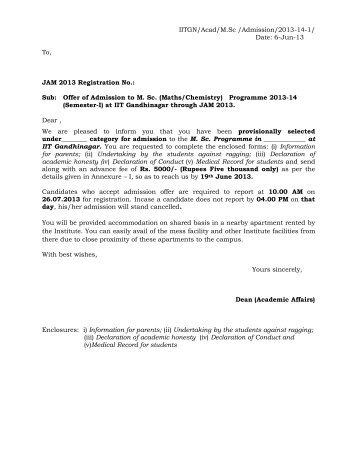Offer Letter Of Admission   Indian Institute Of Technology Gandhinagar