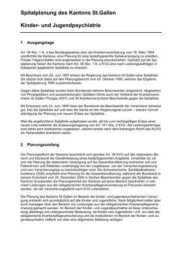 Spitalplanung des Kantons St.gallen Kinder- und Jugendpsychiatrie