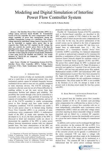 Modeling and Digital Simulation of Interline Power Flow ... - ijcee