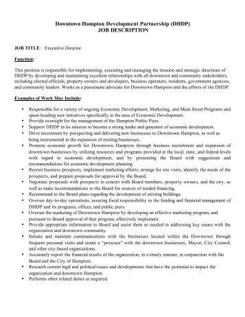 DHDP Executive Director Job Description