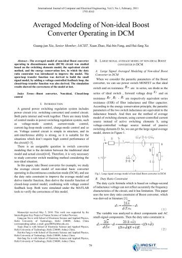 Averaged Modeling of Non-ideal Boost Converter Operating ... - ijcee