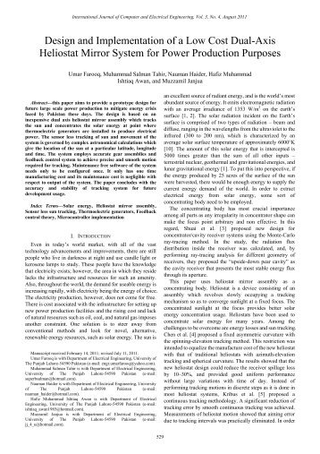 Design and Implementation of a Low Cost Dual-Axis Heliostat ... - ijcee