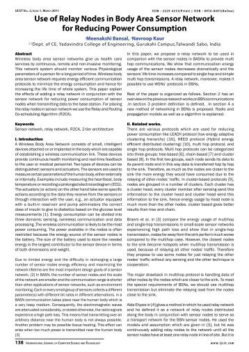 Use of Relay Nodes in Body Area Sensor Network for ... - IJCST