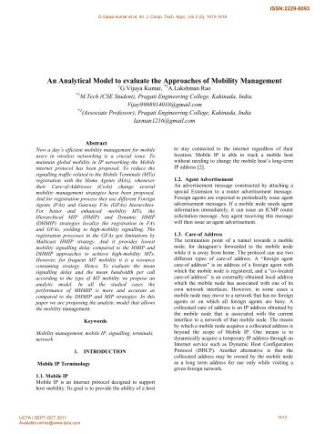 An Analytical Model to evaluate the Approaches of Mobility ...