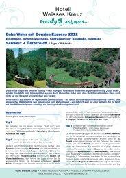 Bahn-Wahn mit Bernina-Express 2012 Schweiz + Österreich 6 Tage ...