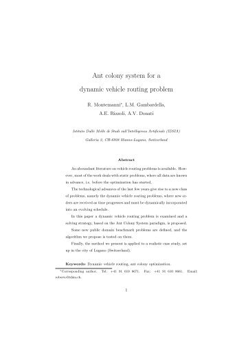 Ant colony system for a dynamic vehicle routing problem - Idsia