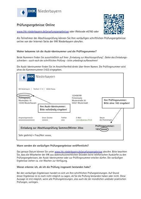 Hilfedatei Prã¼fungsergebnisse Online Ihk Niederbayern