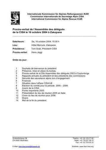 Procès-verbal de l'Assemblée des délégués de la CISA ... - IKAR-CISA