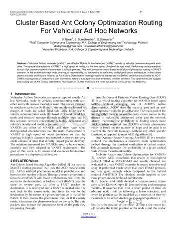 Cluster Based Ant Colony Optimization Routing For Vehicular Ad ...