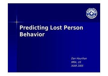 Predicting Lost Person Behavior - IKAR-CISA