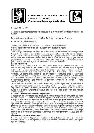 COMMISSION INTERNATIONALE DE SAUVETAGE ... - IKAR-CISA