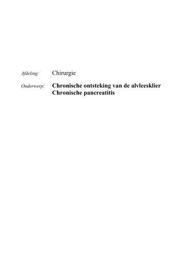 Chronische pancreatitis - alvleesklierontsteking - Ikazia Ziekenhuis