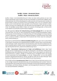 Konflikt – Frieden – Demokratie Cluster Conflict - Institut für ...