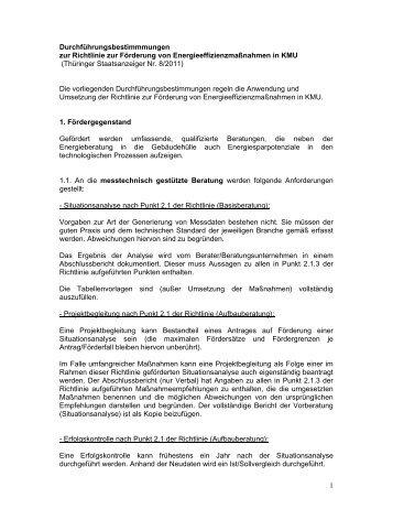 Durchführungsbestimmungen zur Richtlinie