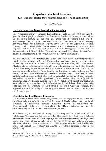 Sippenbuch der Insel Fehmarn – Eine genealogische ...