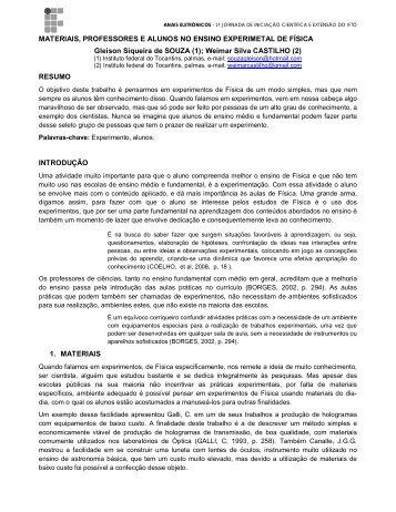 MATERIAIS, PROFESSORES E ALUNOS NO ENSINO ... - IFTO