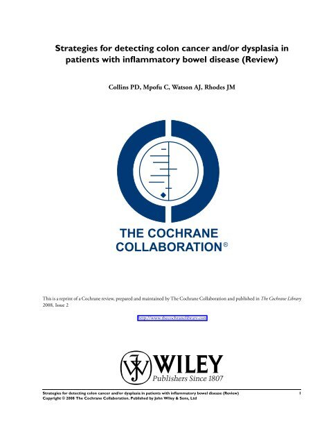 Strategies For Detecting Colon Cancer And Or Dysplasia In Ig Ibd