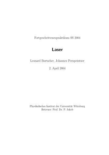 Fortgeschrittenenpraktikum SS 2004 Leonard Burtscher, Johannes ...