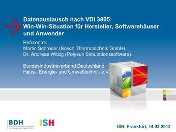 Datenaustausch nach VDI 3805: Win-Win ... - ISH 2013 - BDH