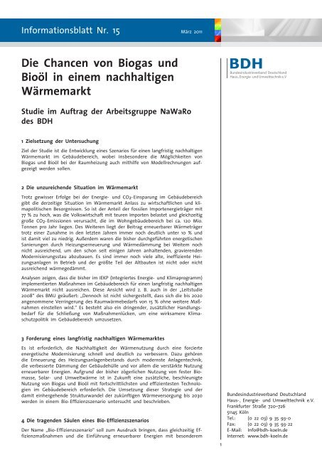 Die Chancen von Biogas und Bioöl in einem nachhaltigen ... - BDH
