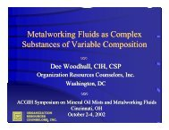 Metalworking Fluids as Complex Substances of Variable ... - ILMA