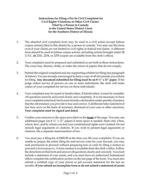 Instructions For Filing A Pro Se Civil Complaint For Civil