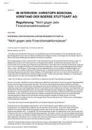 CHRISTOPH BOSCHAN, VORSTAND DER BOERSE STUTTGART AG