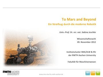 Roboter - IMA,ZLW & IfU - RWTH Aachen University