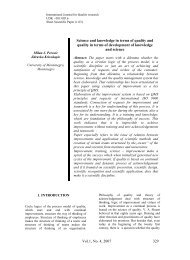 Vol.1, No. 4, 2007 329 Science and knowledge in terms of quality ...