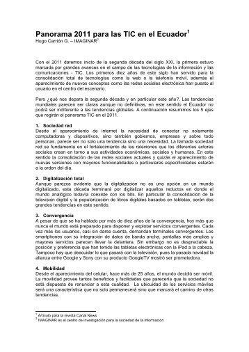 Panorama 2011 para las TIC en el Ecuador - Imaginar