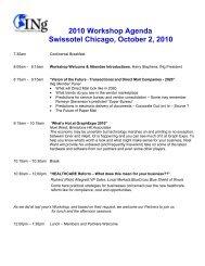 2010 Workshop Agenda Swissotel Chicago, October 2, 2010