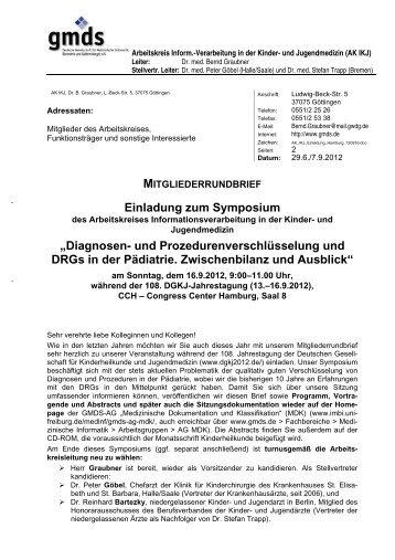 Mitgliederrundbrief mit Einladung zum Symposium am 16.9.2012